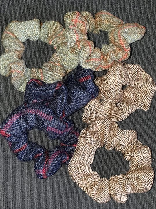 Tweed Hair Scrunchies